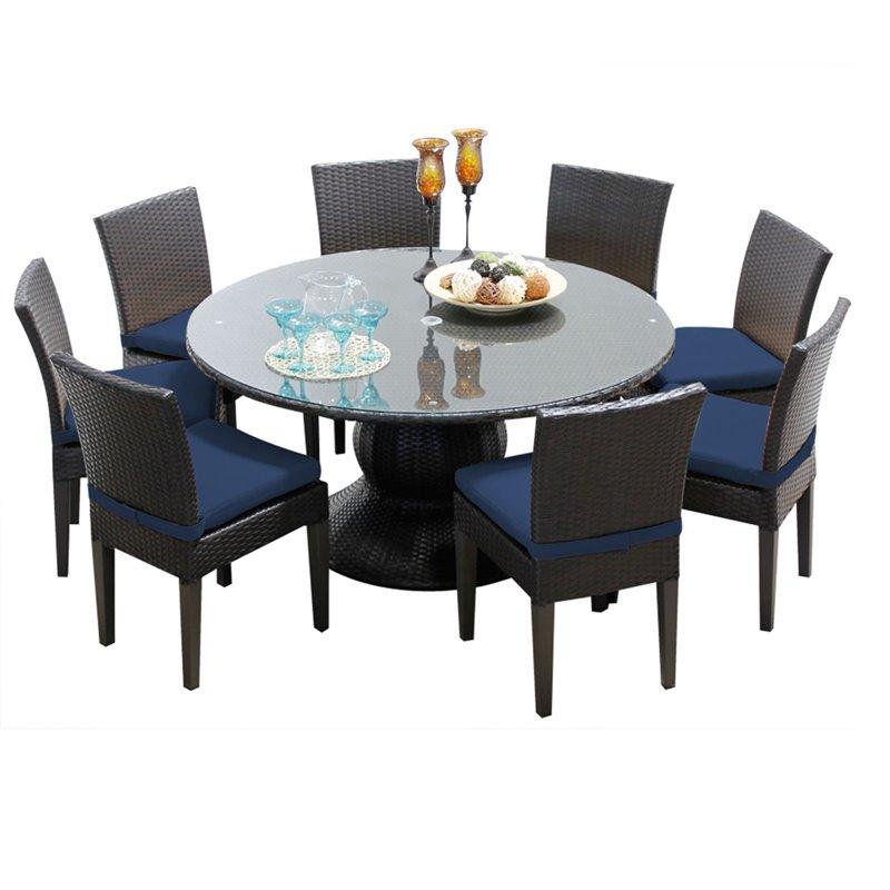 tkc napa 9 piece 60 round glass top patio dining set in navy