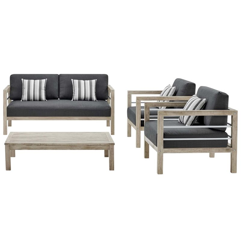 modway wiscasset 4 piece acacia wood patio sofa set in light gray