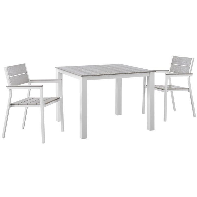 modway maine 3 piece outdoor dining set in white and light gray