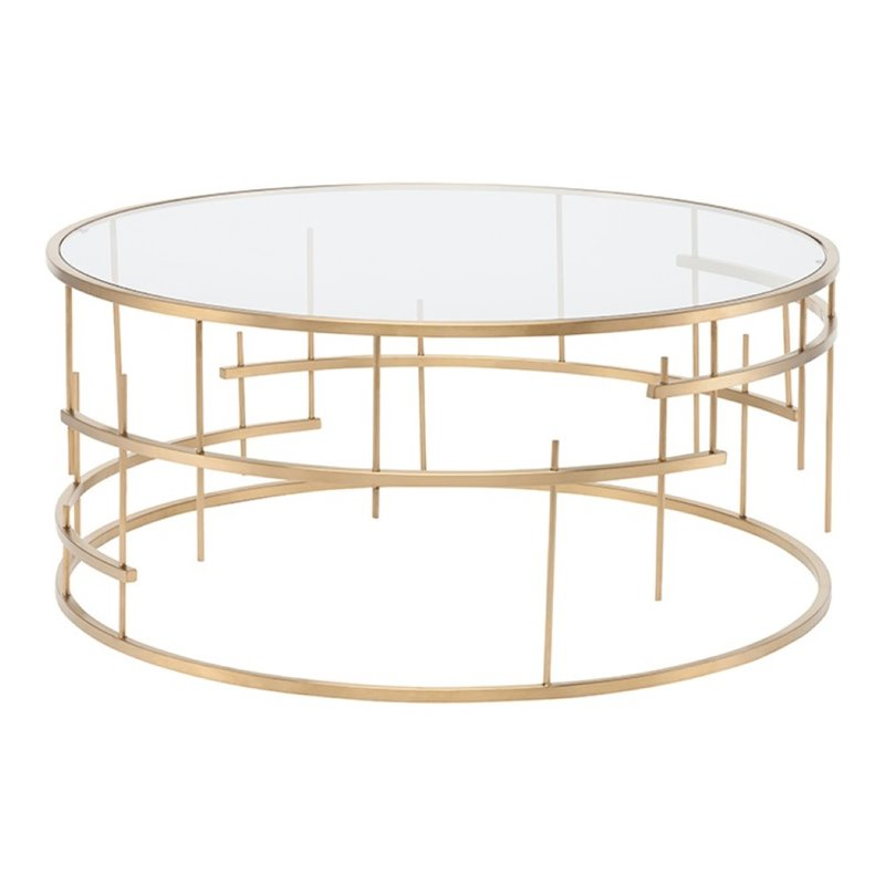 nuevo tiffany round glass top metal coffee table in gold