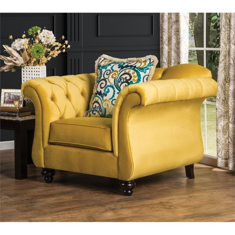 Furniture Of America Dupre Tufted Accent Chair In Royal