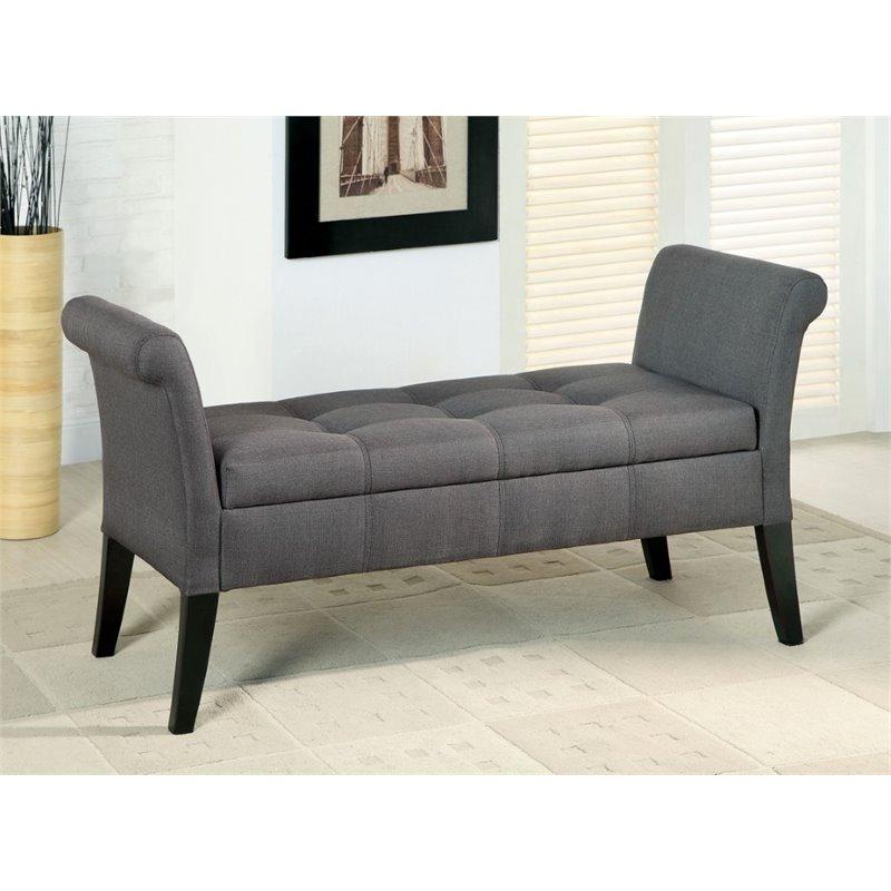 furniture of america arronia contemporary fabric storage bench in gray