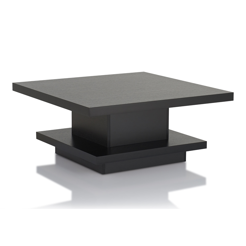 furniture of america carenza contemporary square wood coffee table in black