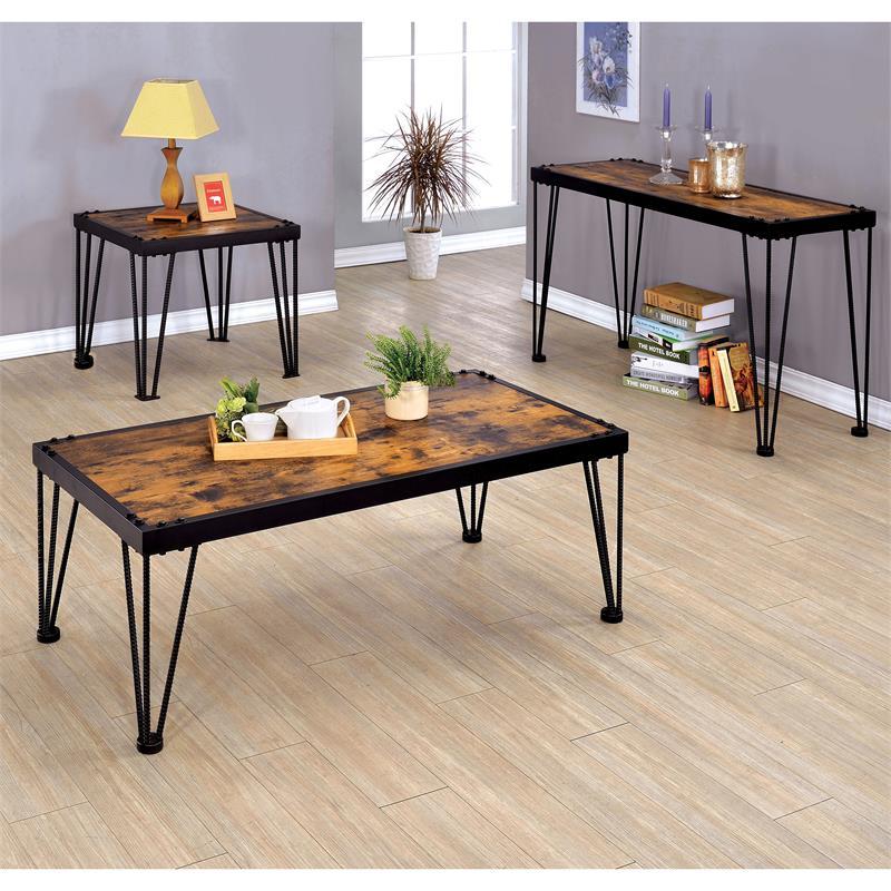 furniture of america eagles industrial metal coffee table in black
