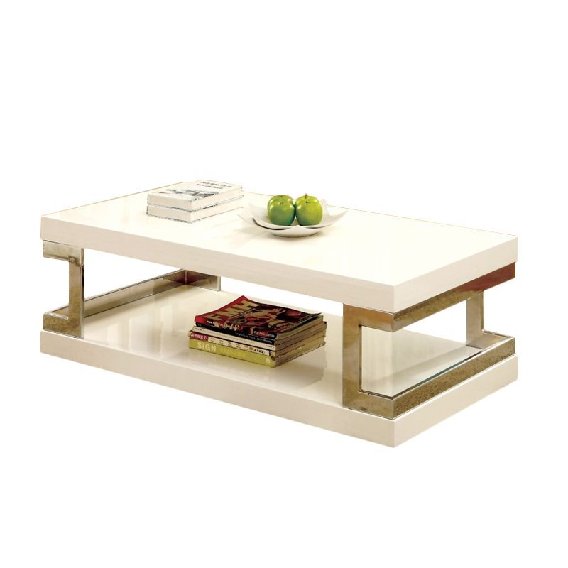 furniture of america bargunde contemporary wood glossy coffee table in white