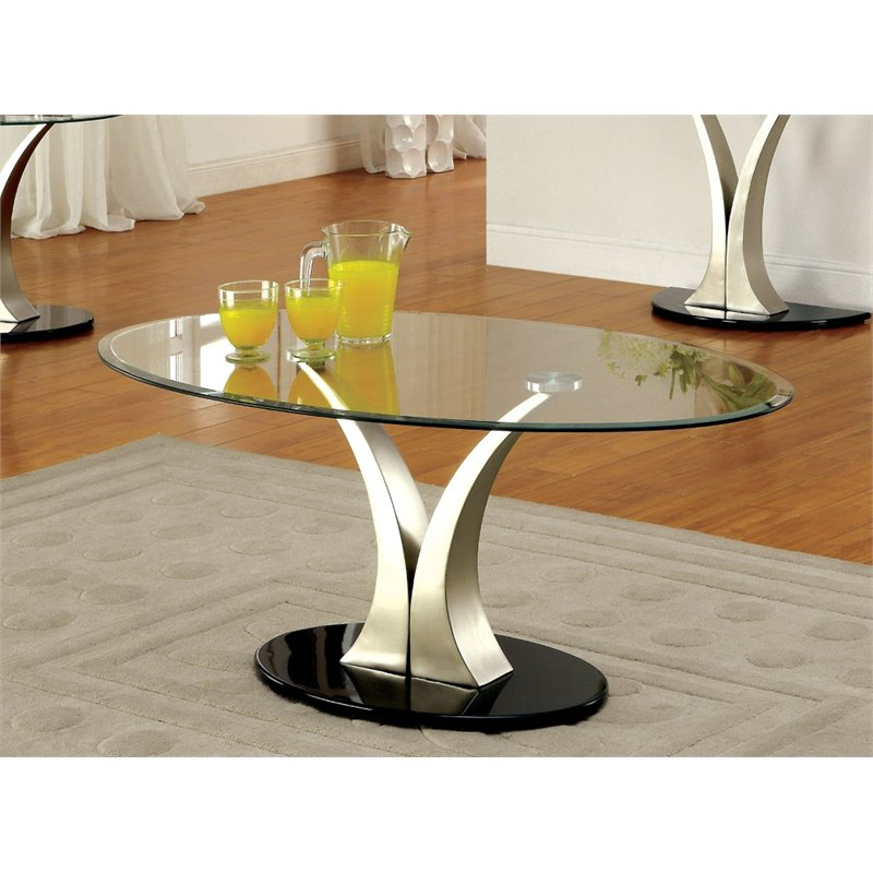 furniture of america mansa 3 piece metal coffee table set in satin plated