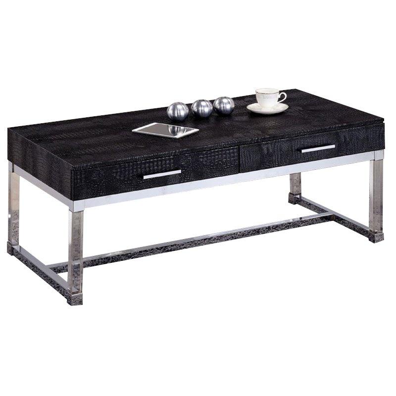 furniture of america romano contemporary metal coffee table in black