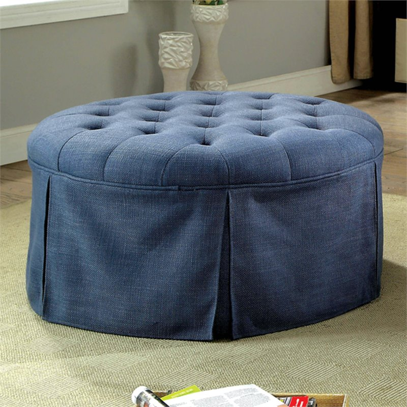 furniture of america amalie transitional round storage ottoman in blue
