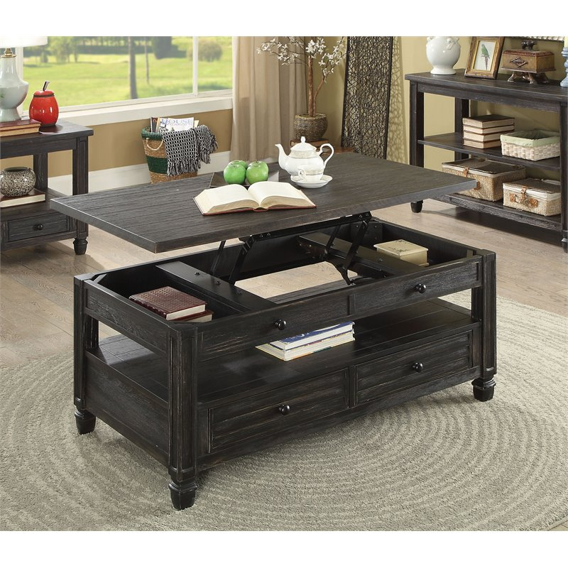 furniture of america shania wood lift top coffee table in antique black