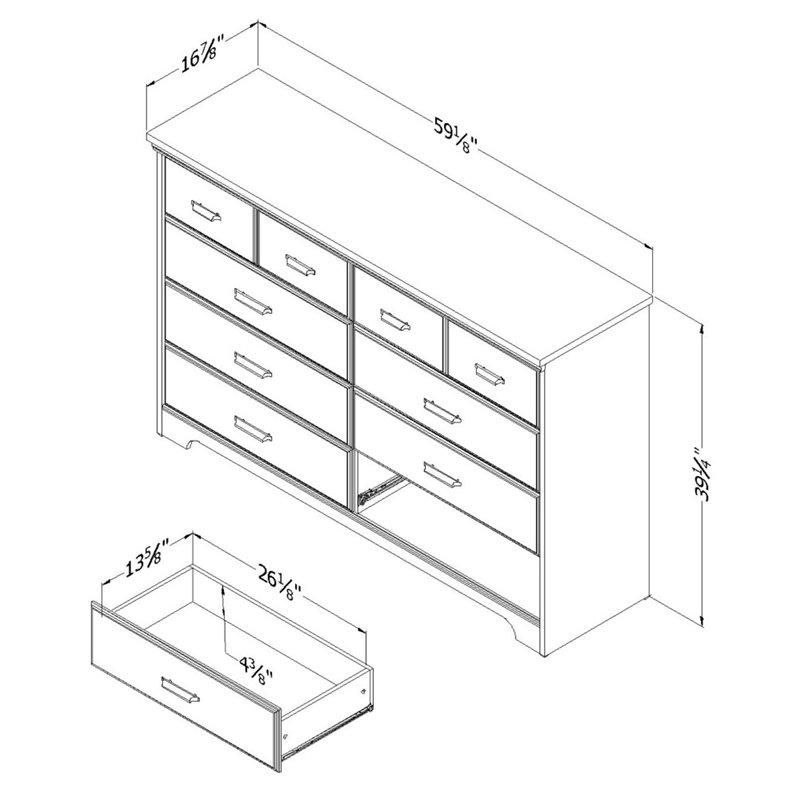 south shore versa 8 drawer dresser in gray maple