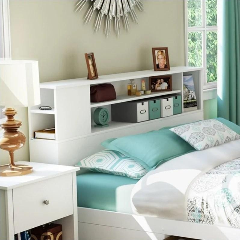 south shore breakwater full queen bookcase headboard in white