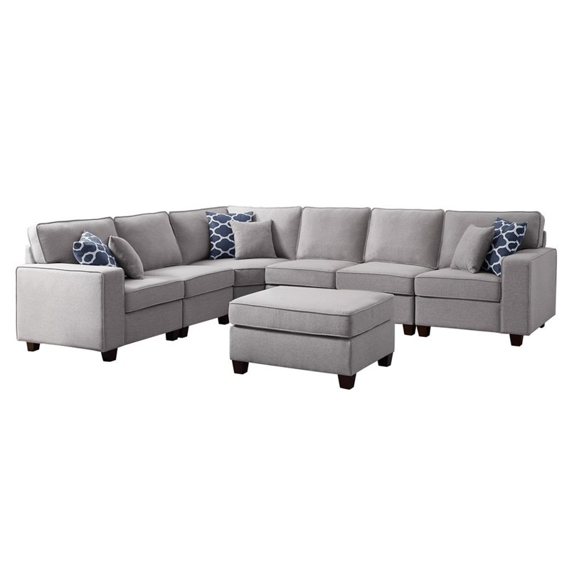 bowery hill fabric upholstered 7 pc sectional sofa and ottoman in light gray