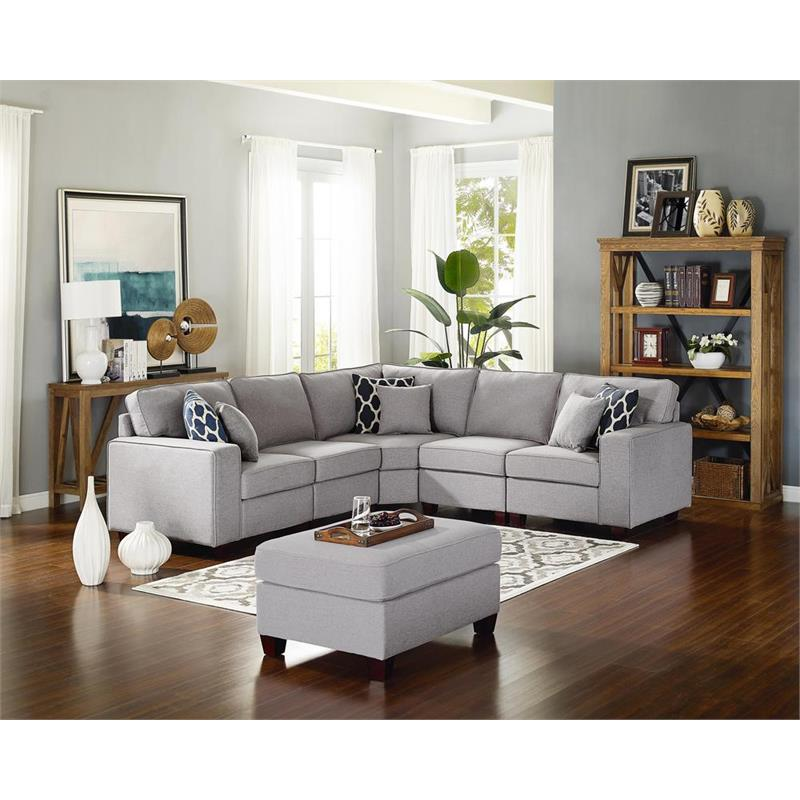 bowery hill sonoma 6pc modular sectional sofa with ottoman in light gray linen