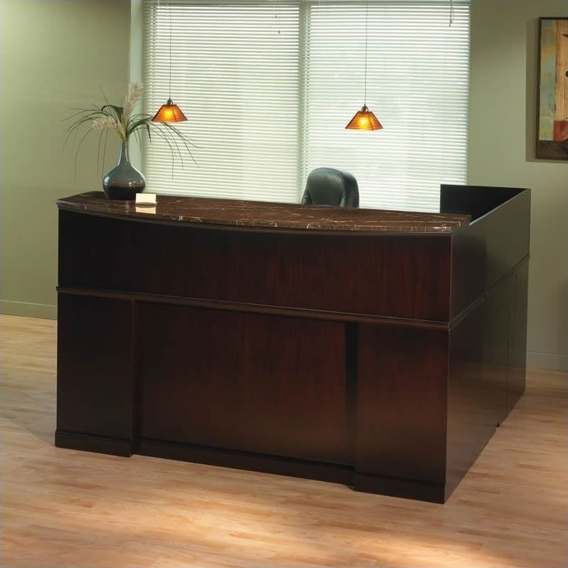 Mayline Sorrento Left L Shaped Marble Counter Reception Desk SRCSLM