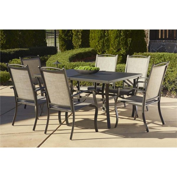 outdoor patio 7 piece dining set Cosco Outdoor Serene Ridge 7 Piece Aluminum Patio Dining