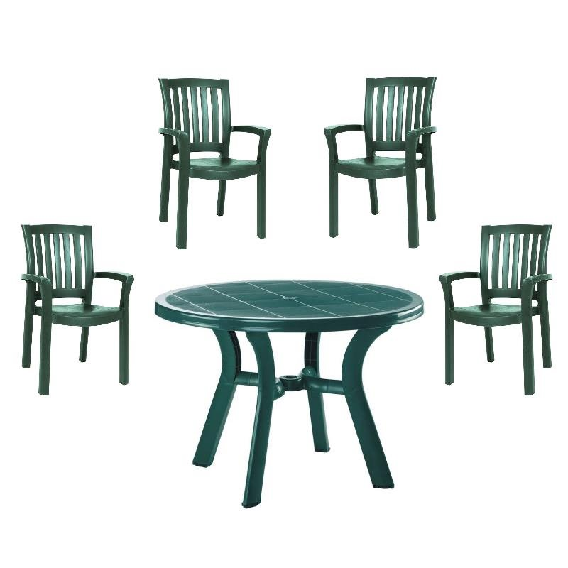 5 piece 42 round resin patio table and 4 resin dining arm chair set in green