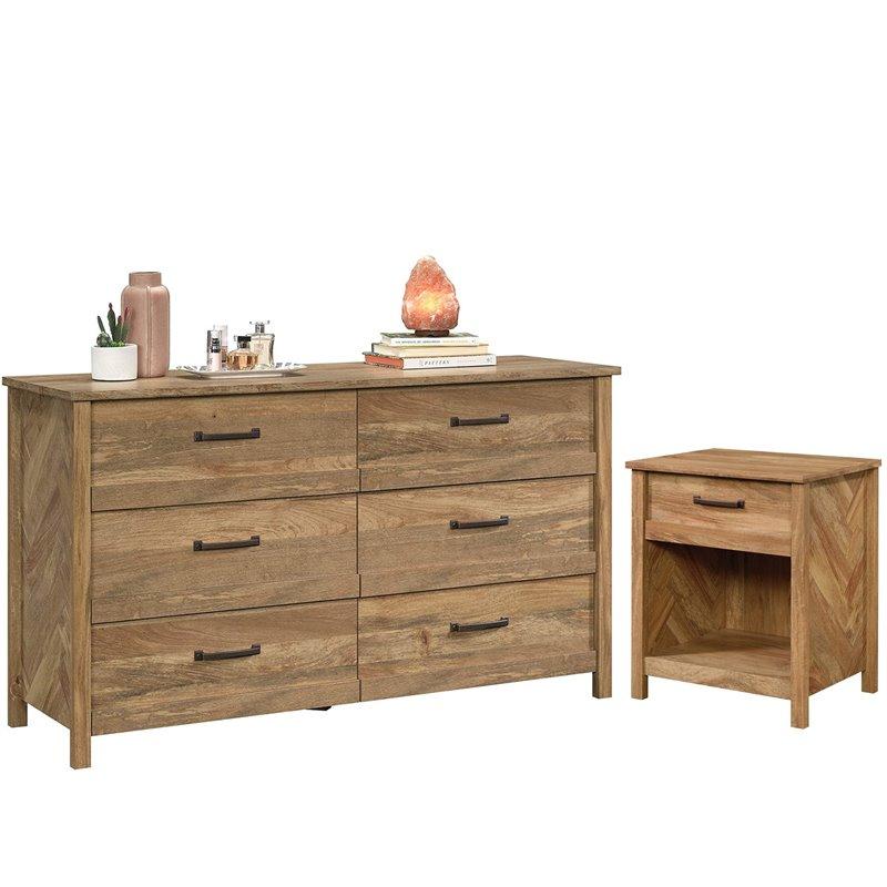 6 drawer double dresser and 1 drawer nightstand set in sindoori mango finish