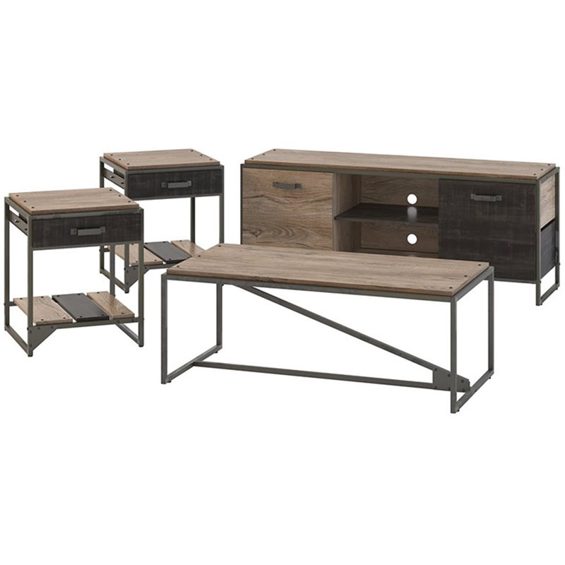 bush furniture refinery 60w tv stand with coffee table and set of 2 end tables