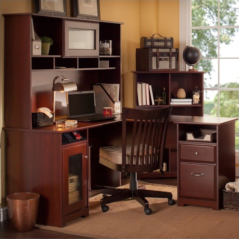 """At out & out original, we, like you, expect not … Bush Furniture Cabot 60"""" L-Shaped Computer Desk Set in"""