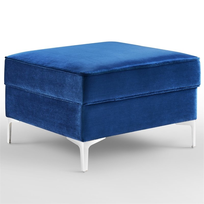 posh living levi tufted velvet storage ottoman with chrome legs in navy blue