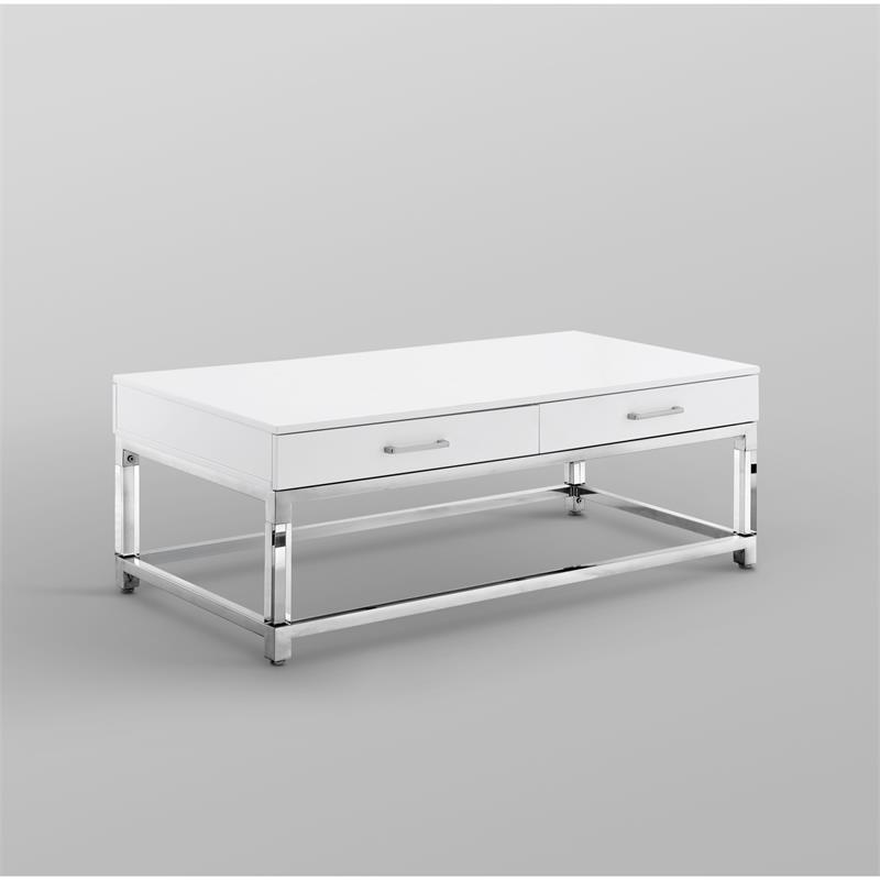 posh briar 2 drawer metal coffee table with acrylic legs in white chrome