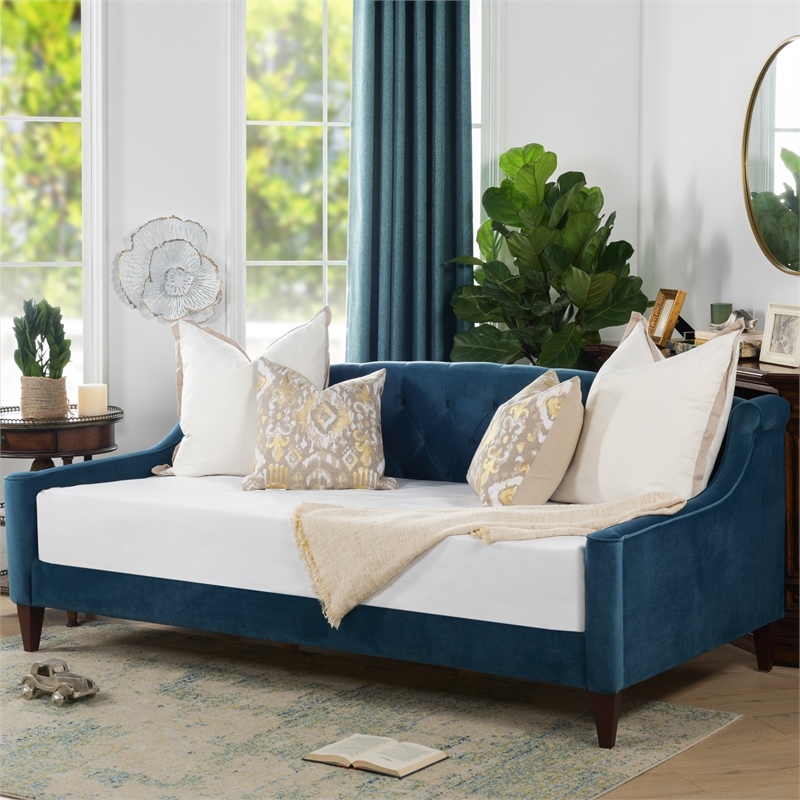 lucy upholstered button tufted sofa bed satin teal