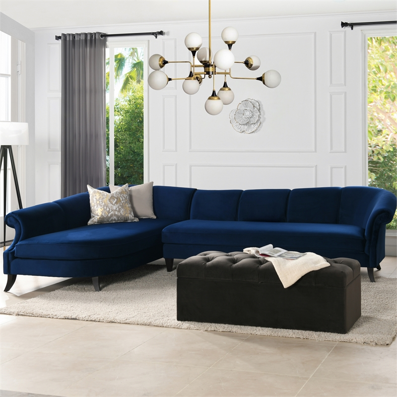 victoria channel tufted left sectional sofa navy blue