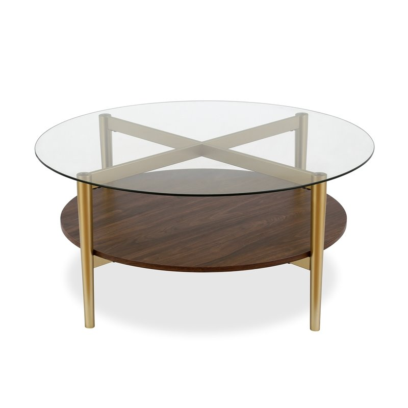 henn hart mid century brass metal round coffee table with walnut wood shelf