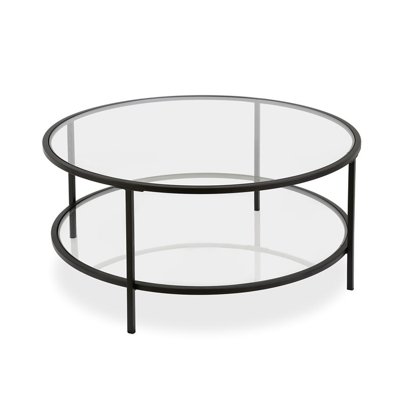 henn hart two shelf round metal base coffee table in black with glass top