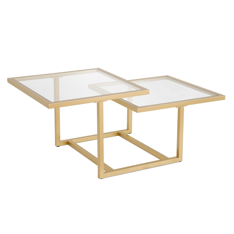 henn hart metal two tier glass top gold coffee table