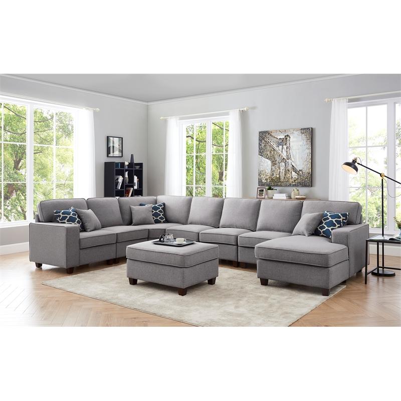 lilola irma fabric 8 piece modular sectional sofa chaise and ottoman light gray