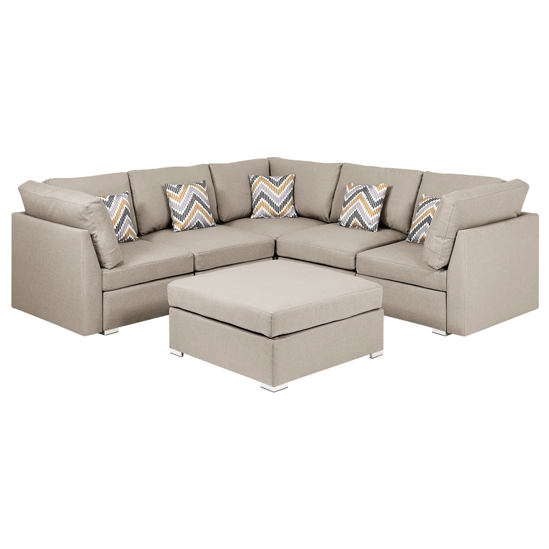 amira beige fabric reversible sectional sofa with ottoman and pillows