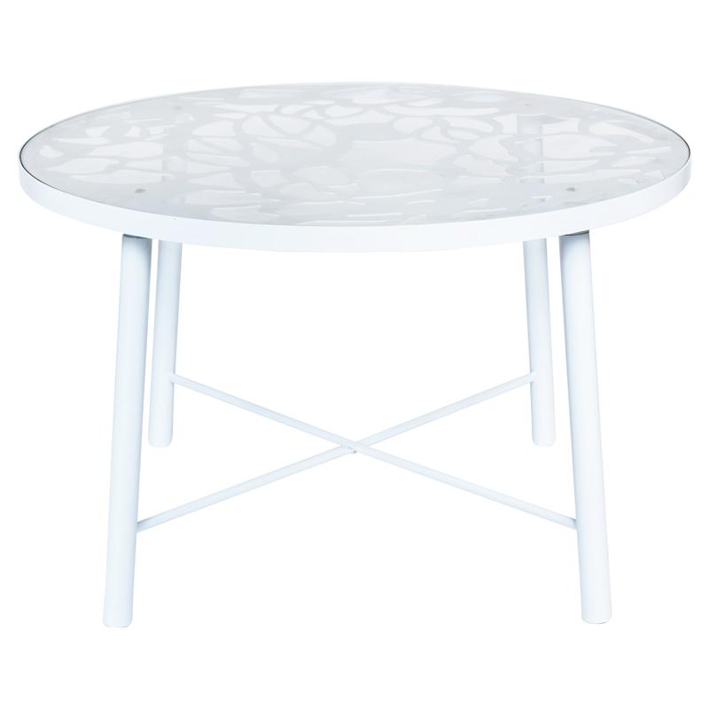 leisuremod devon modern glass top white aluminum base outdoor 47 dining table