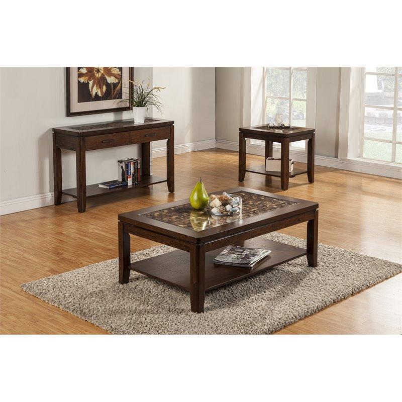 alpine furniture granada coffee table with glass insert shelf in brown merlot