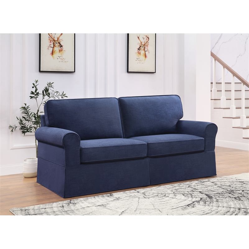 ashton slip cover sofa in navy blue fabric