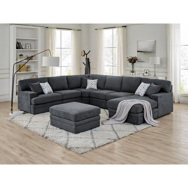 yl grand 5 seat u shape left facing sectional sofa with chaise in dark gray