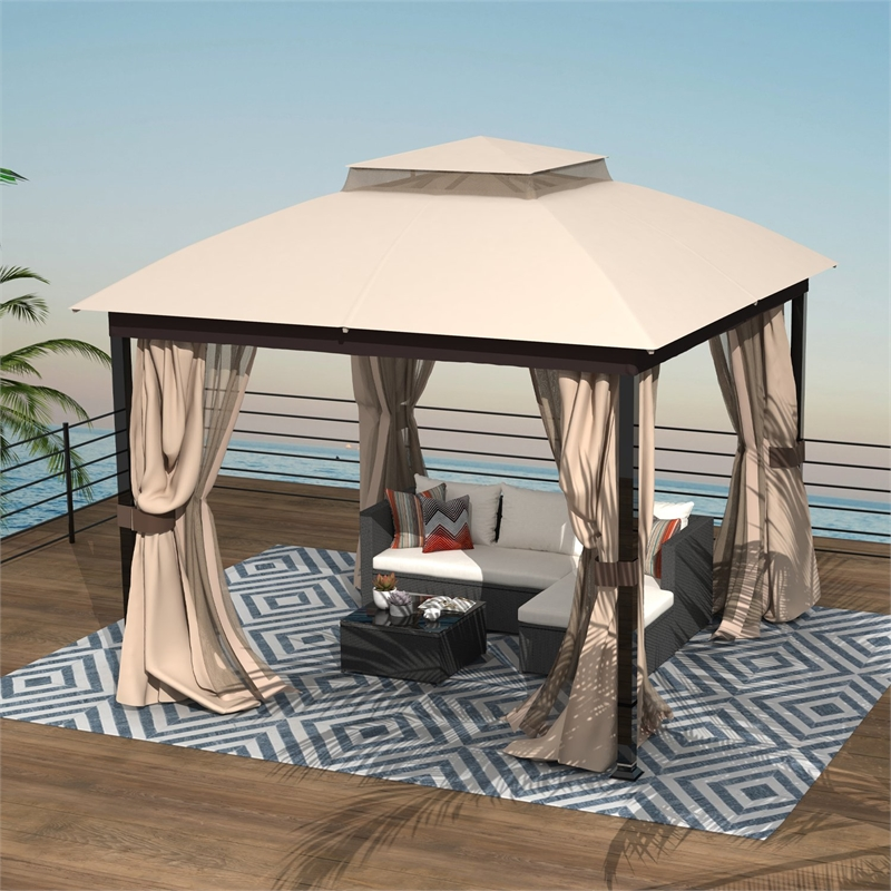 10x10 patio double roof vent gazebo canopy w mosquito netting in sand