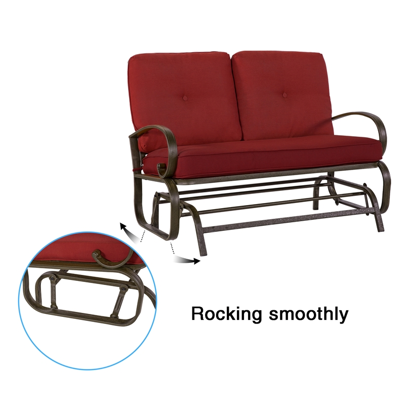 patio glider bench outdoor swing loveseat wrought iron brick red