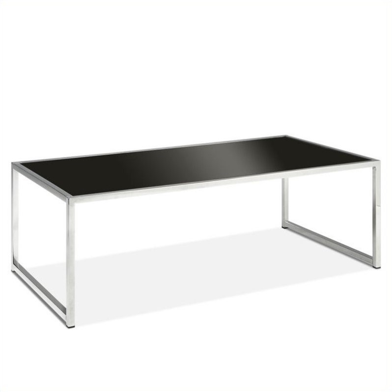 yield coffee table black glass with chrome accents legs