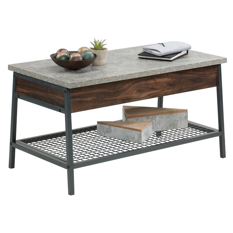sauder market commons wood and metal lift top coffee table in rich walnut