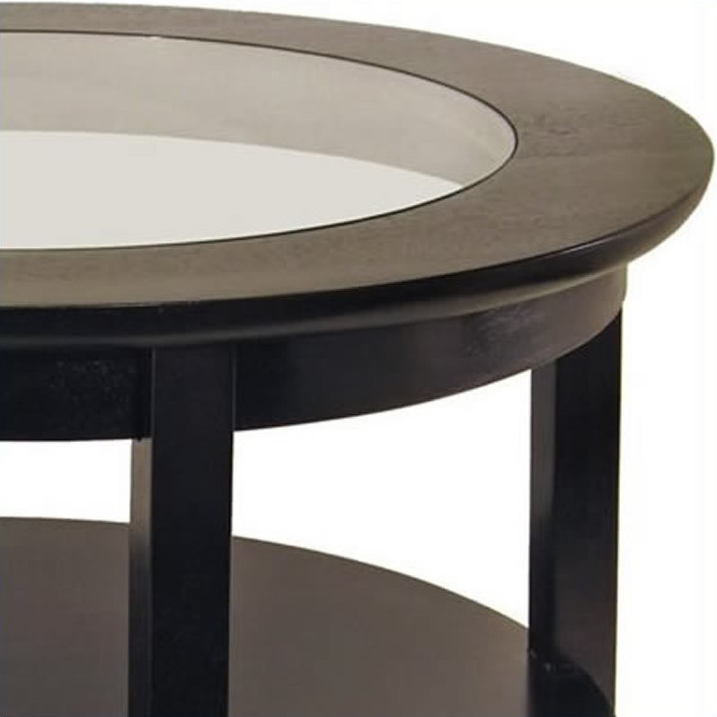 winsome genoa round wood coffee table with glass top in dark espresso