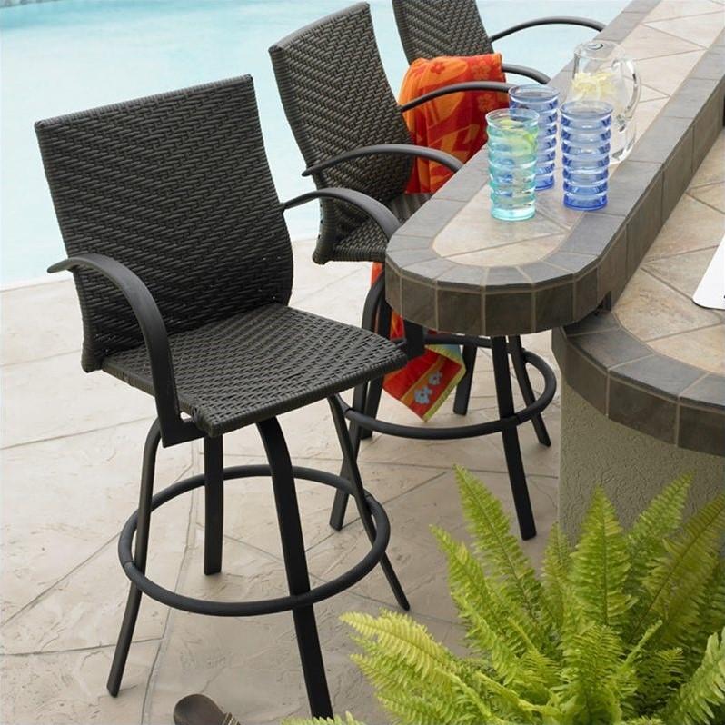 Outdoor Greatroom Company Resin Wicker 47 Swivel Bar Stool In Dark Brown Set Of 2 NAPLES 4030 L