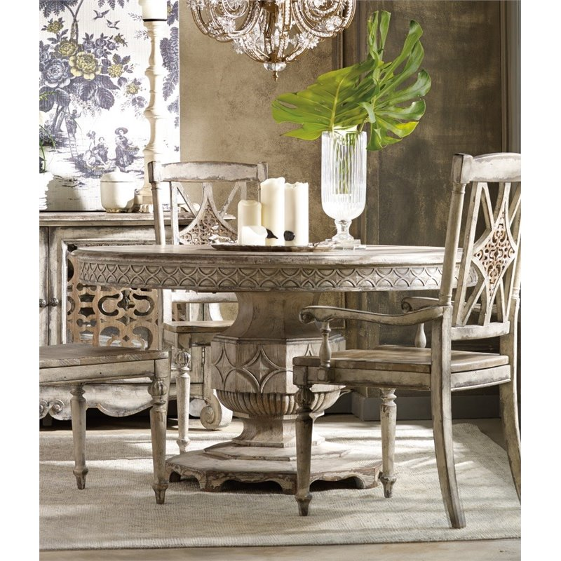 Hooker Furniture Chatelet Round Extendable Dining Table In Vintage White 5350 75203
