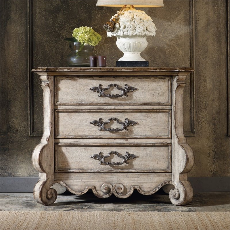 hooker furniture chatelet 3 drawer nightstand in distressed vintage white