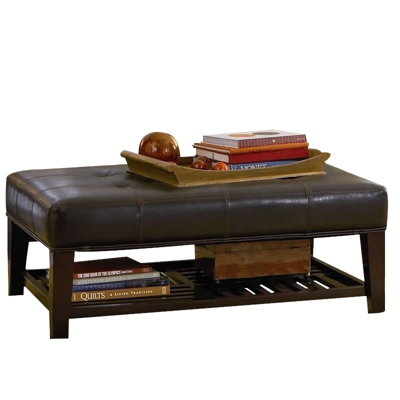 coaster faux leather coffee table ottoman in brown and cappuccino
