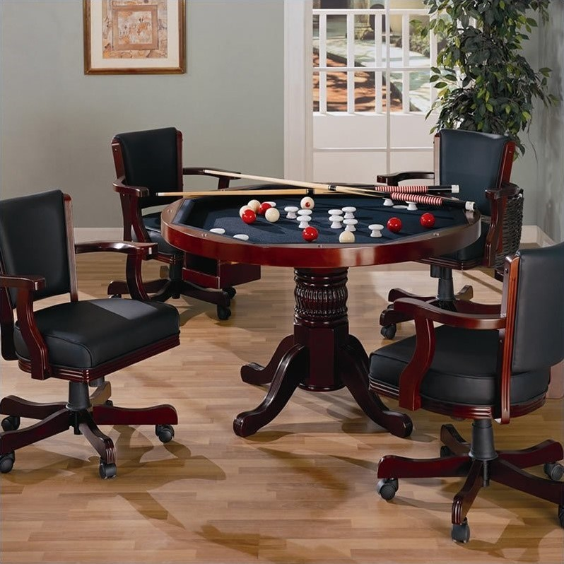 Coaster Mitchell 5 Piece 3 In 1 Game Table Set In Cherry