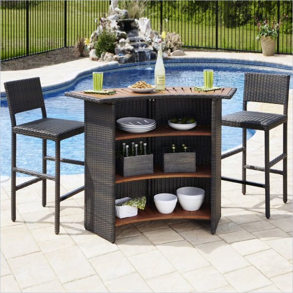 outdoor patio bar sets Home Styles Riviera OutDr Woven & Two Stools Set Brown
