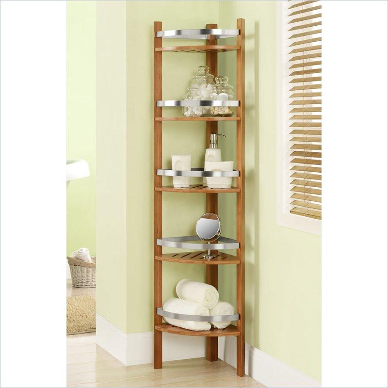 Altra Furniture Bamboo Bathroom Corner Tower w/5 Shelves ... on Bathroom Corner Shelf  id=74580