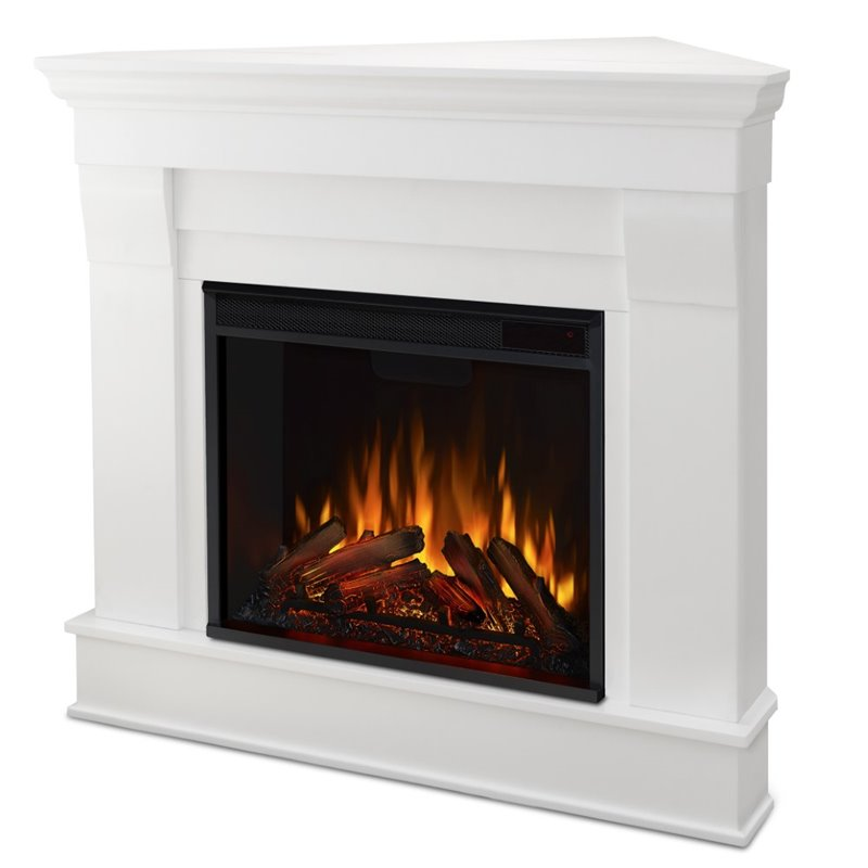 Real Flame Chateau Electric Corner Fireplace In White