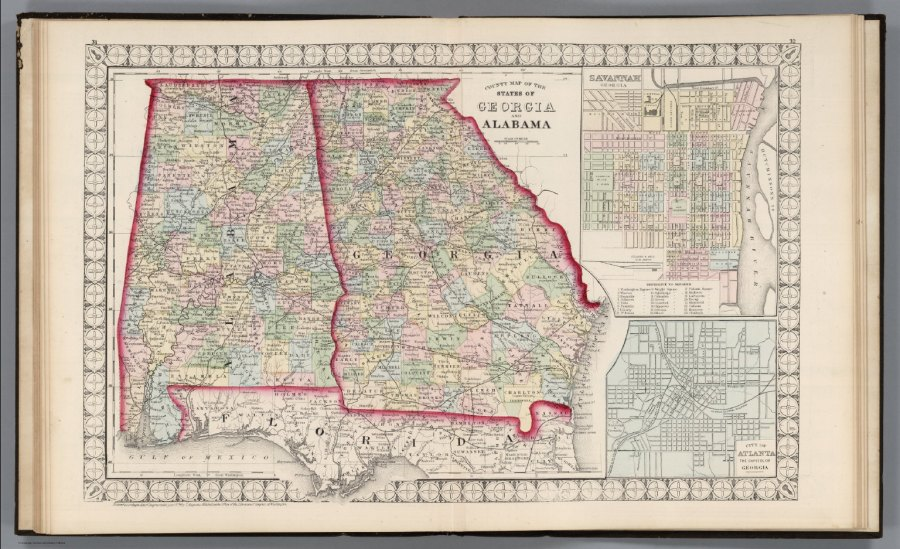 County Map of the States of Georgia and Alabama    David Rumsey     County Map of the States of Georgia and Alabama